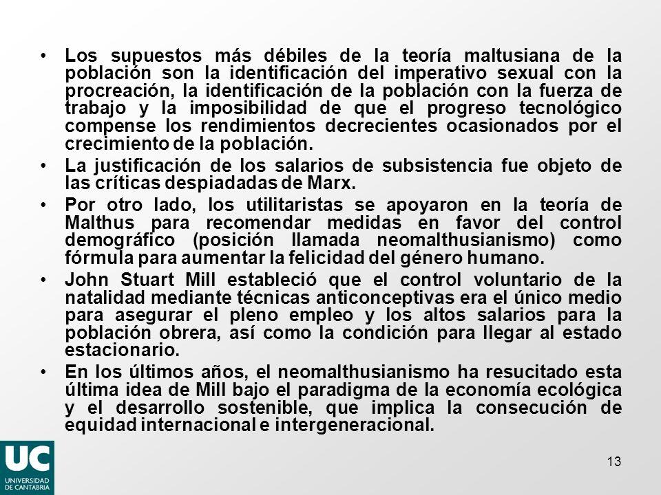 13 Los supuestos más débiles de la teoría maltusiana de la población son la identificación del imperativo sexual con la procreación, la identificación