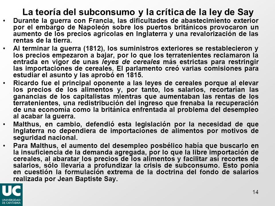 14 La teoría del subconsumo y la crítica de la ley de Say Durante la guerra con Francia, las dificultades de abastecimiento exterior por el embargo de