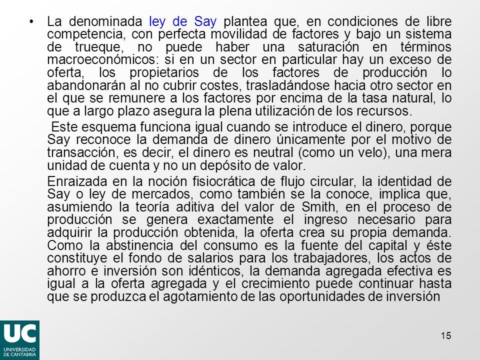 15 La denominada ley de Say plantea que, en condiciones de libre competencia, con perfecta movilidad de factores y bajo un sistema de trueque, no pued
