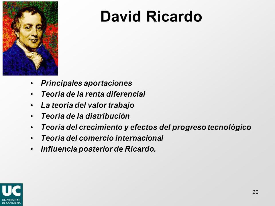 20 David Ricardo Principales aportaciones Teoría de la renta diferencial La teoría del valor trabajo Teoría de la distribución Teoría del crecimiento