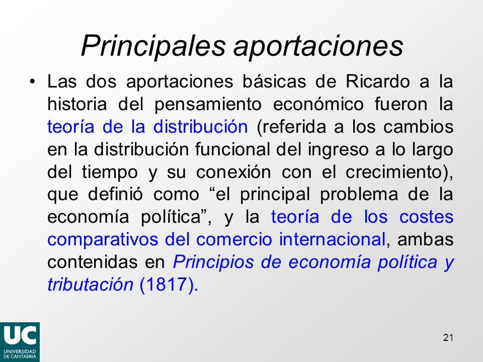 21 Principales aportaciones Las dos aportaciones básicas de Ricardo a la historia del pensamiento económico fueron la teoría de la distribución (refer