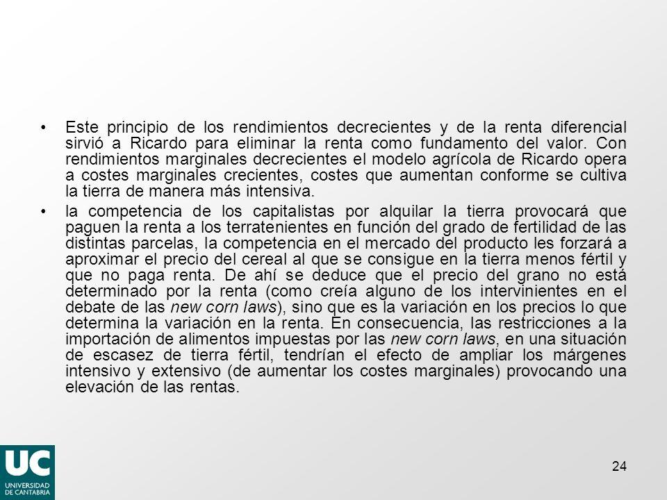 24 Este principio de los rendimientos decrecientes y de la renta diferencial sirvió a Ricardo para eliminar la renta como fundamento del valor.