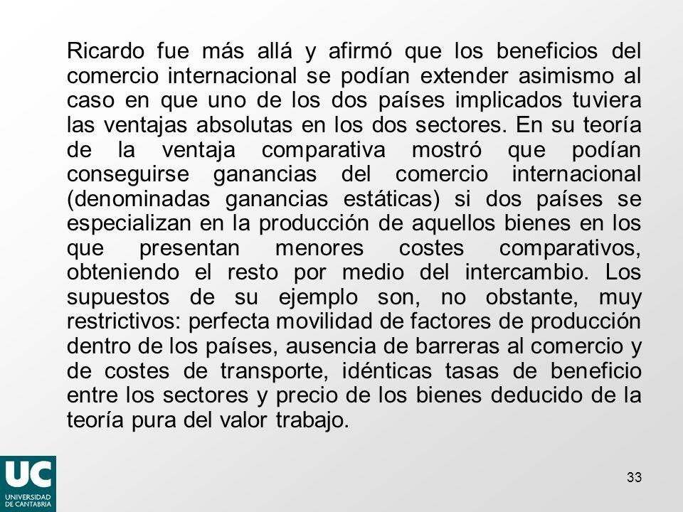 33 Ricardo fue más allá y afirmó que los beneficios del comercio internacional se podían extender asimismo al caso en que uno de los dos países implicados tuviera las ventajas absolutas en los dos sectores.