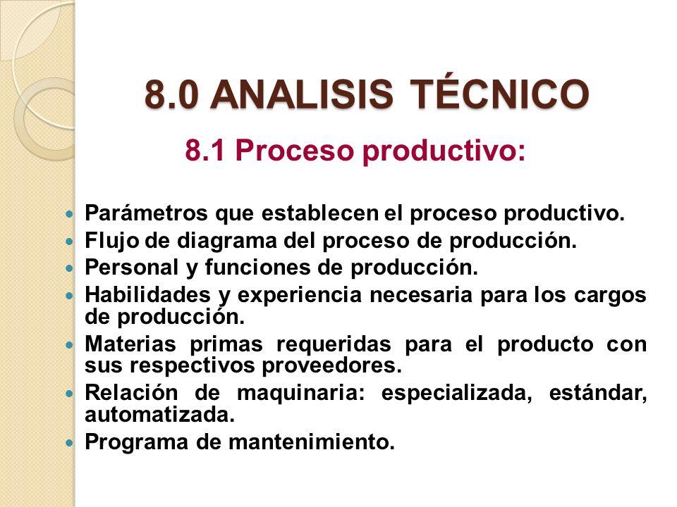 8.0 ANALISIS TÉCNICO 8.1 Proceso productivo: Parámetros que establecen el proceso productivo. Flujo de diagrama del proceso de producción. Personal y