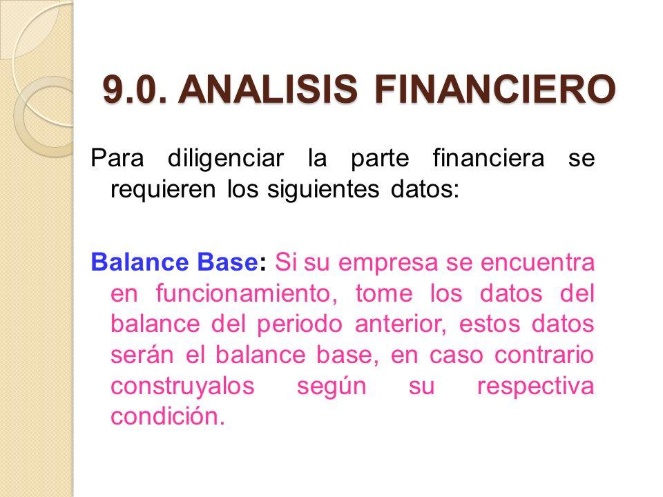 9.0. ANALISIS FINANCIERO Para diligenciar la parte financiera se requieren los siguientes datos: Balance Base: Si su empresa se encuentra en funcionam