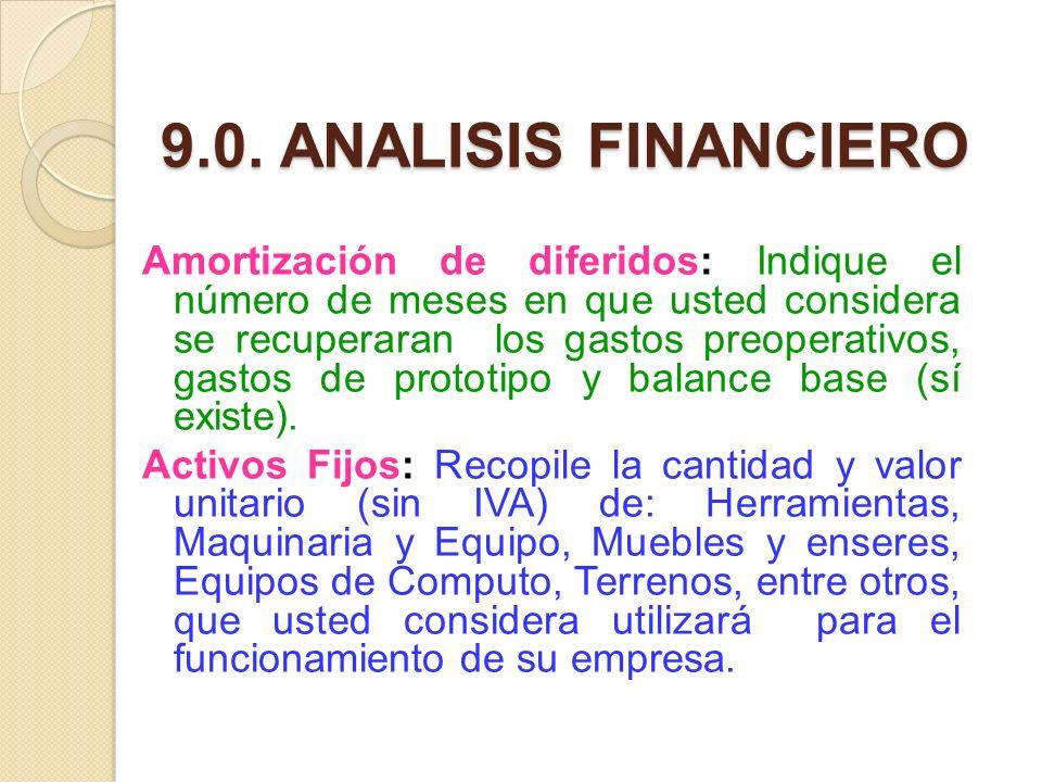 9.0. ANALISIS FINANCIERO Amortización de diferidos: Indique el número de meses en que usted considera se recuperaran los gastos preoperativos, gastos