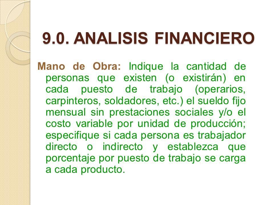 9.0. ANALISIS FINANCIERO Mano de Obra: Indique la cantidad de personas que existen (o existirán) en cada puesto de trabajo (operarios, carpinteros, so