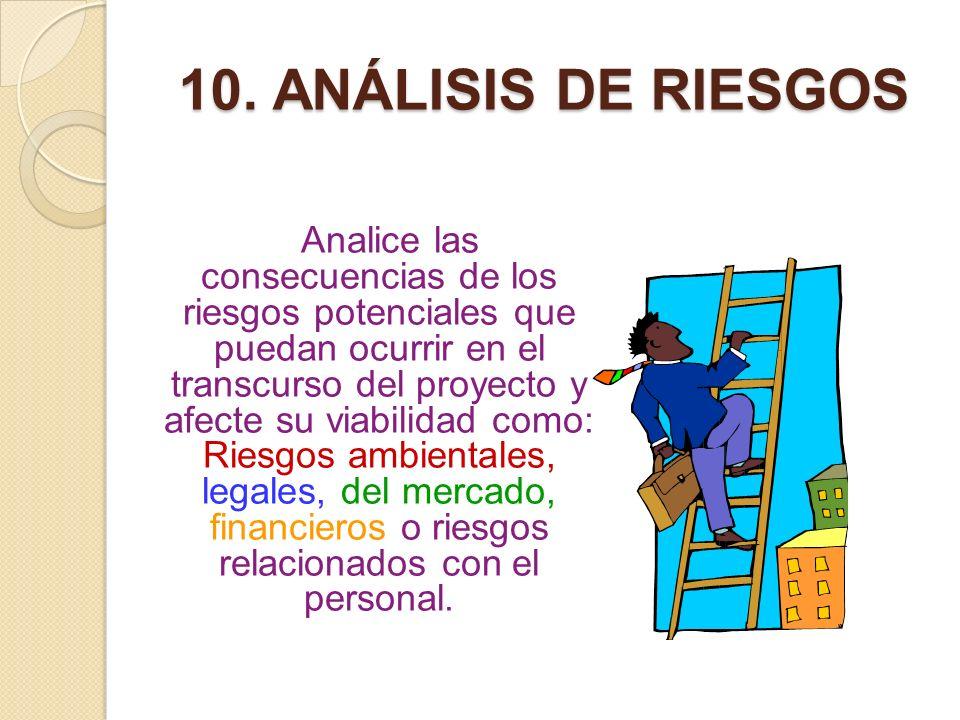 10. ANÁLISIS DE RIESGOS Analice las consecuencias de los riesgos potenciales que puedan ocurrir en el transcurso del proyecto y afecte su viabilidad c