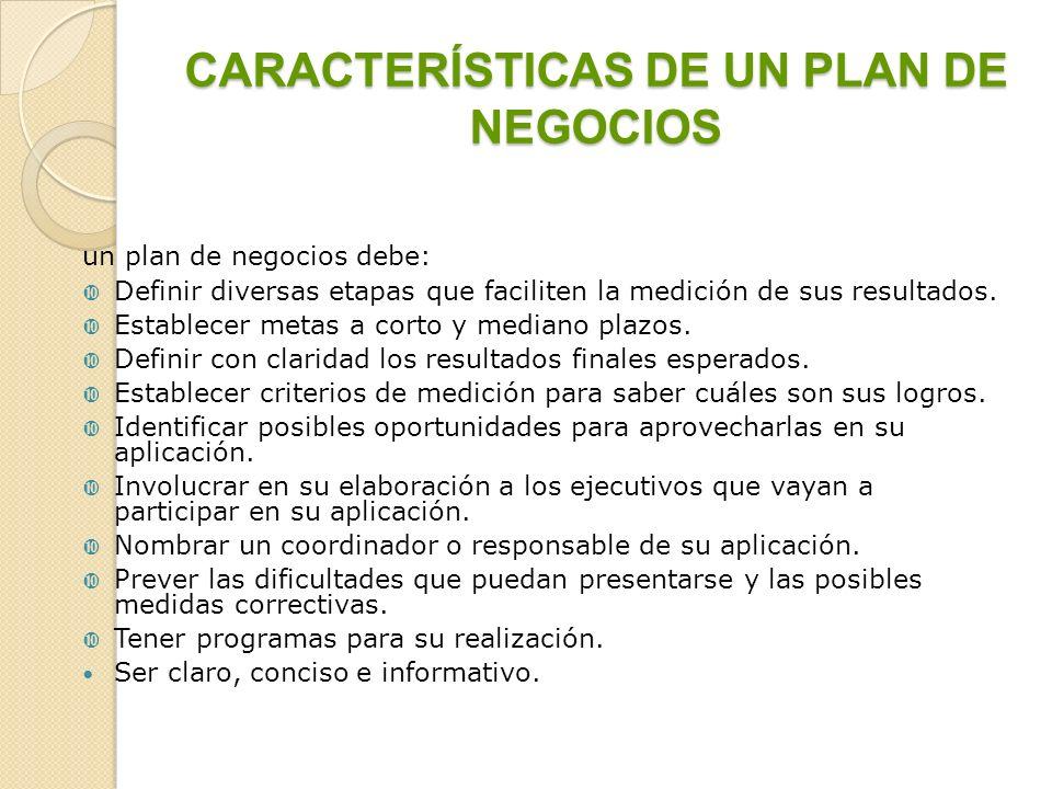 CARACTERÍSTICAS DE UN PLAN DE NEGOCIOS un plan de negocios debe: Definir diversas etapas que faciliten la medición de sus resultados. Establecer metas