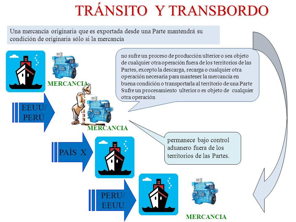 TRÁNSITO Y TRANSBORDO TRÁNSITO Y TRANSBORDO EEUU/ PERÚ PERU/ EEUU MERCANCIA PAÌS X no sufre un proceso de producción ulterior o sea objeto de cualquie