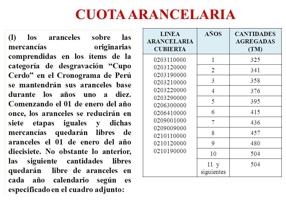 CUOTA ARANCELARIA LINEA ARANCELARIA CUBIERTA AÑOSCANTIDADES AGREGADAS (TM) 0203110000 0203120000 0203190000 0203210000 0203220000 0203290000 020630000