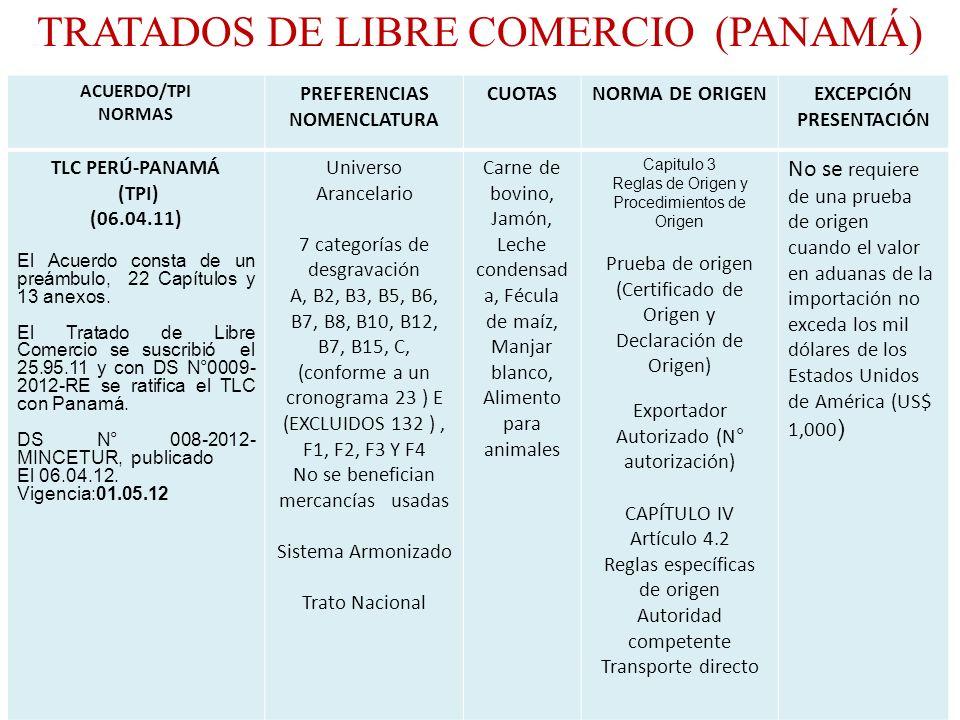 ACUERDO/TPI NORMAS PREFERENCIAS NOMENCLATURA CUOTASNORMA DE ORIGENEXCEPCIÓN PRESENTACIÓN TLC PERÚ-PANAMÁ (TPI) (06.04.11) El Acuerdo consta de un preá