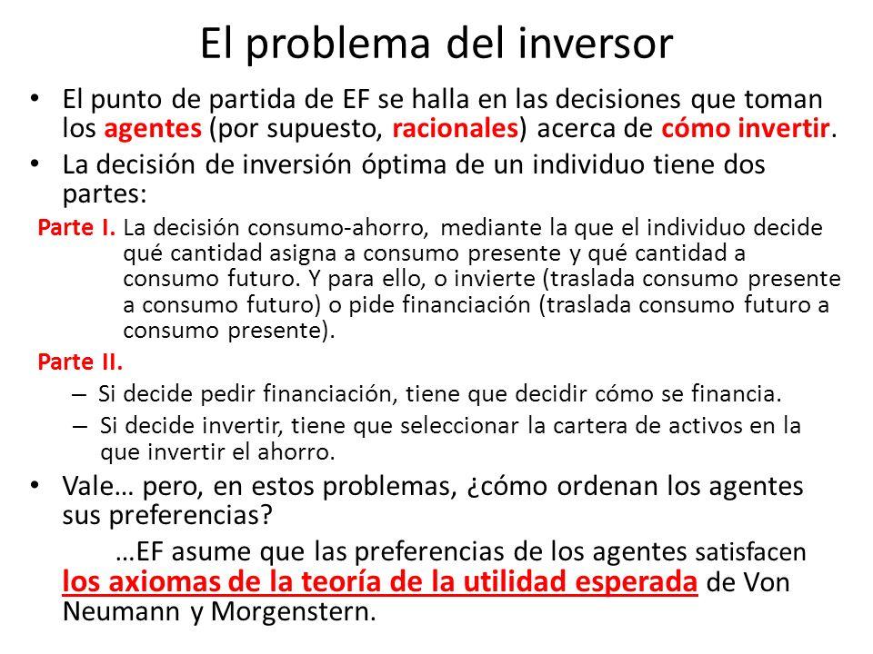 El problema del inversor El punto de partida de EF se halla en las decisiones que toman los agentes (por supuesto, racionales) acerca de cómo invertir