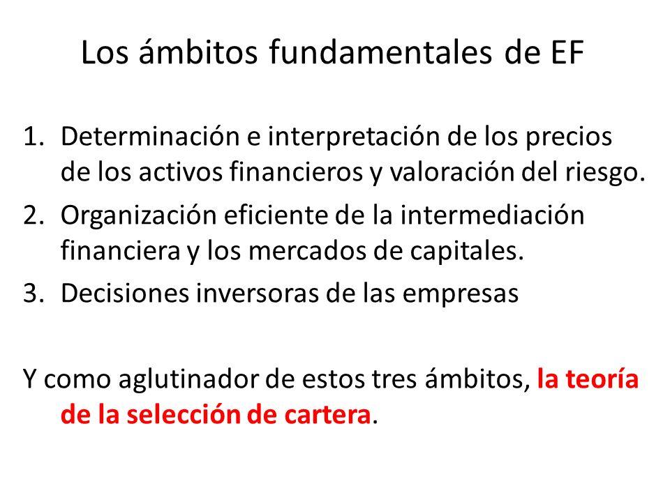 Los ámbitos fundamentales de EF 1.Determinación e interpretación de los precios de los activos financieros y valoración del riesgo. 2.Organización efi