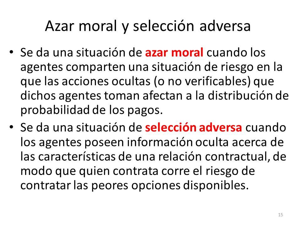 15 Azar moral y selección adversa Se da una situación de azar moral cuando los agentes comparten una situación de riesgo en la que las acciones oculta