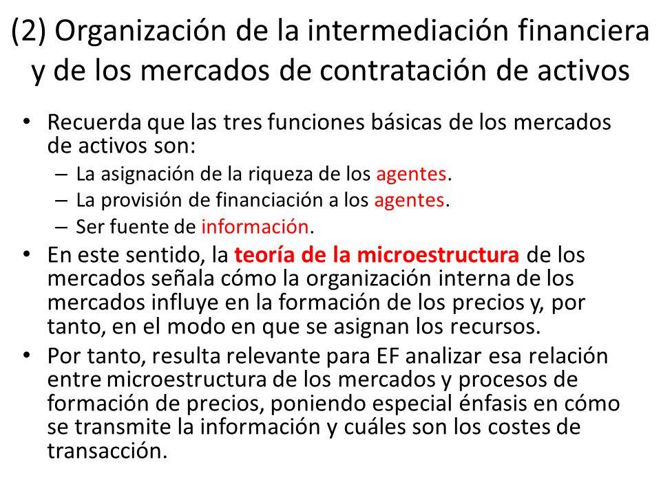 (2) Organización de la intermediación financiera y de los mercados de contratación de activos Recuerda que las tres funciones básicas de los mercados