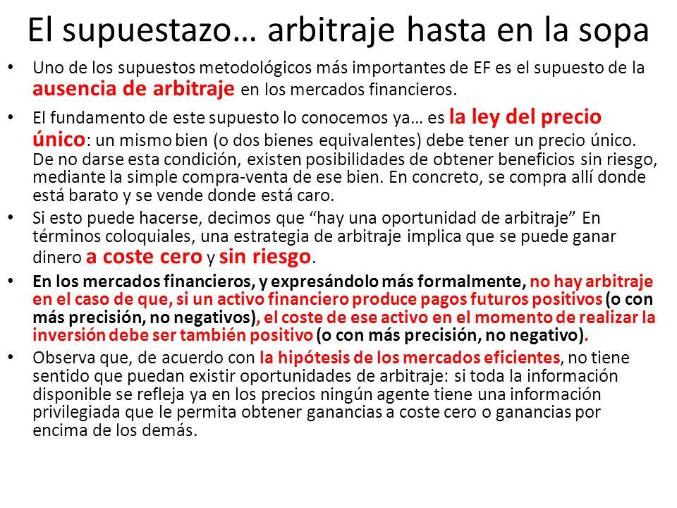El supuestazo… arbitraje hasta en la sopa Uno de los supuestos metodológicos más importantes de EF es el supuesto de la ausencia de arbitraje en los m