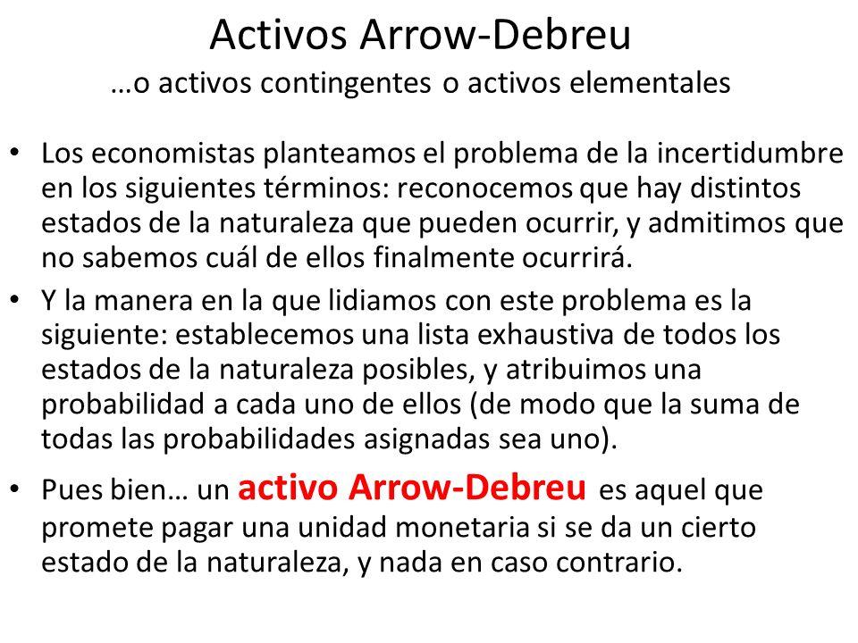 Activos Arrow-Debreu …o activos contingentes o activos elementales Los economistas planteamos el problema de la incertidumbre en los siguientes términ