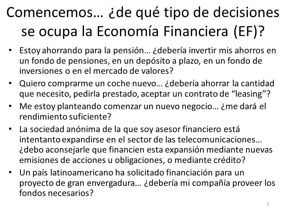 3 Comencemos… ¿de qué tipo de decisiones se ocupa la Economía Financiera (EF)? Estoy ahorrando para la pensión… ¿debería invertir mis ahorros en un fo