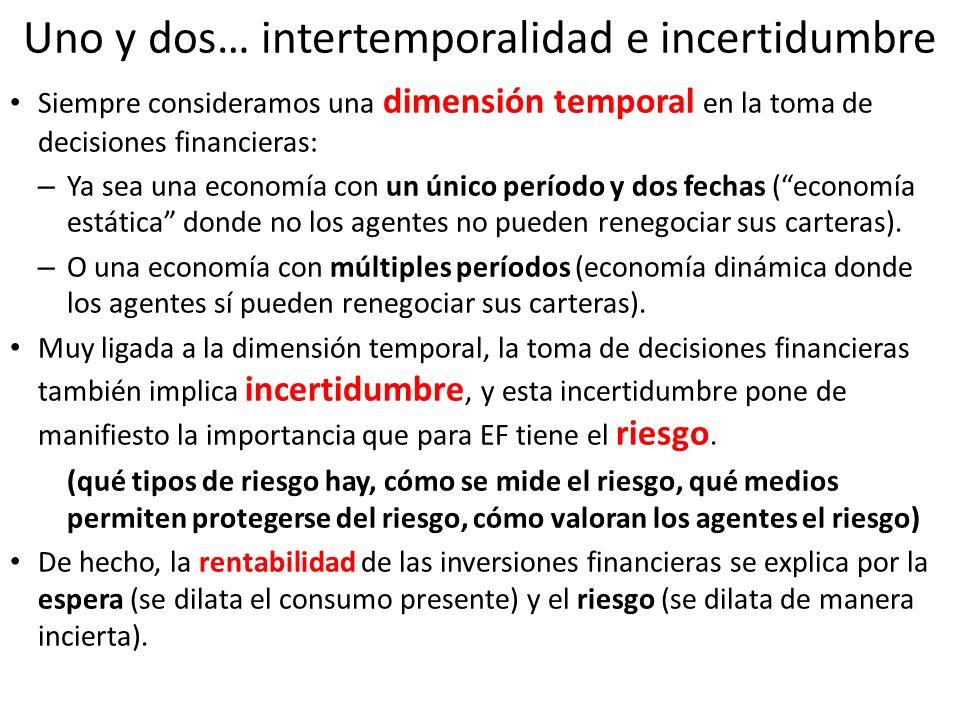 Uno y dos… intertemporalidad e incertidumbre Siempre consideramos una dimensión temporal en la toma de decisiones financieras: – Ya sea una economía c