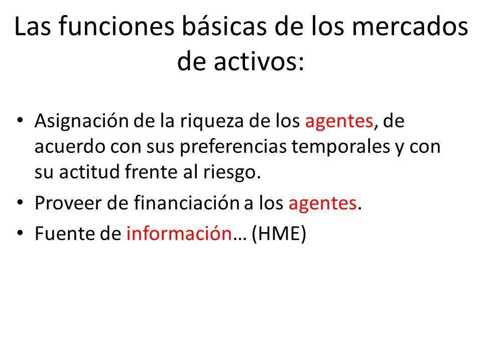 Las funciones básicas de los mercados de activos: Asignación de la riqueza de los agentes, de acuerdo con sus preferencias temporales y con su actitud