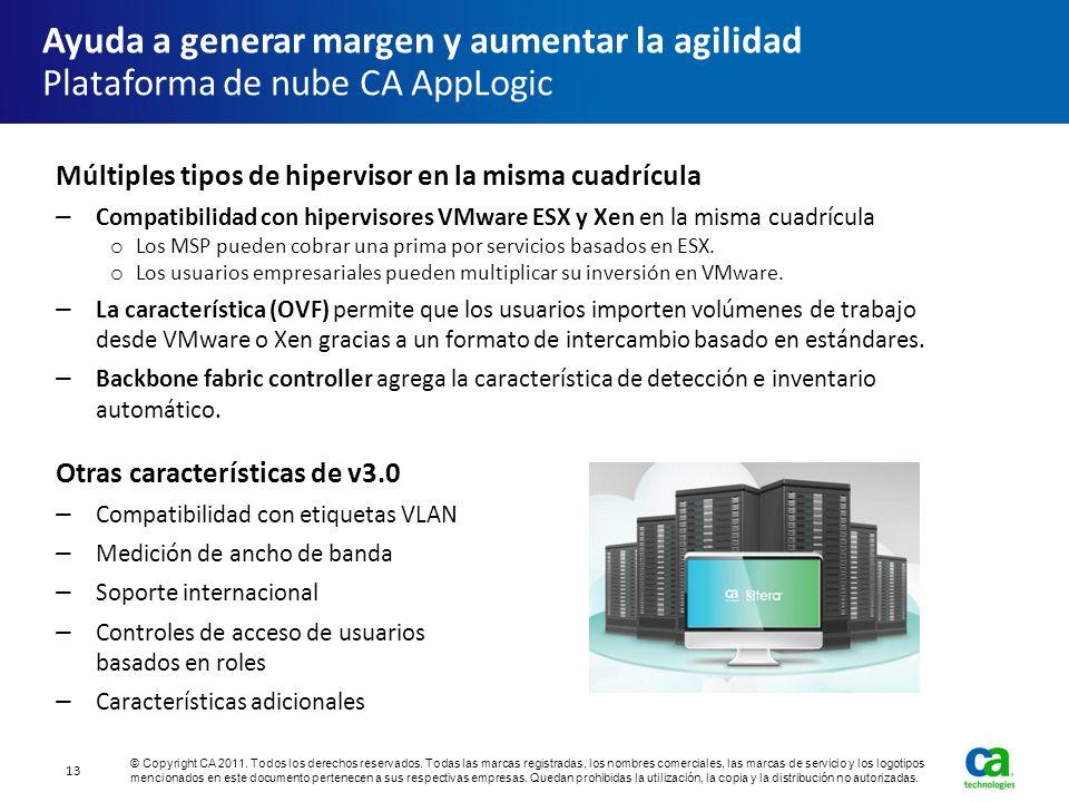 Múltiples tipos de hipervisor en la misma cuadrícula Compatibilidad con hipervisores VMware ESX y Xen en la misma cuadrícula o Los MSP pueden cobrar u