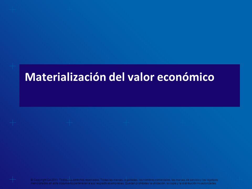 Materialización del valor económico © Copyright CA 2011. Todos los derechos reservados. Todas las marcas registradas, los nombres comerciales, las mar