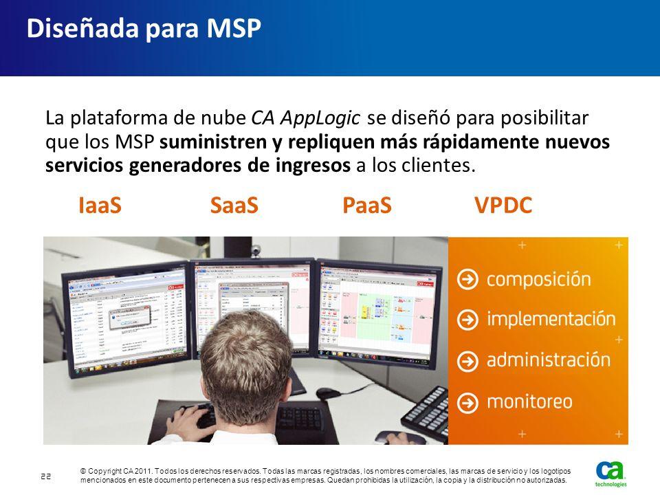 Diseñada para MSP La plataforma de nube CA AppLogic se diseñó para posibilitar que los MSP suministren y repliquen más rápidamente nuevos servicios ge