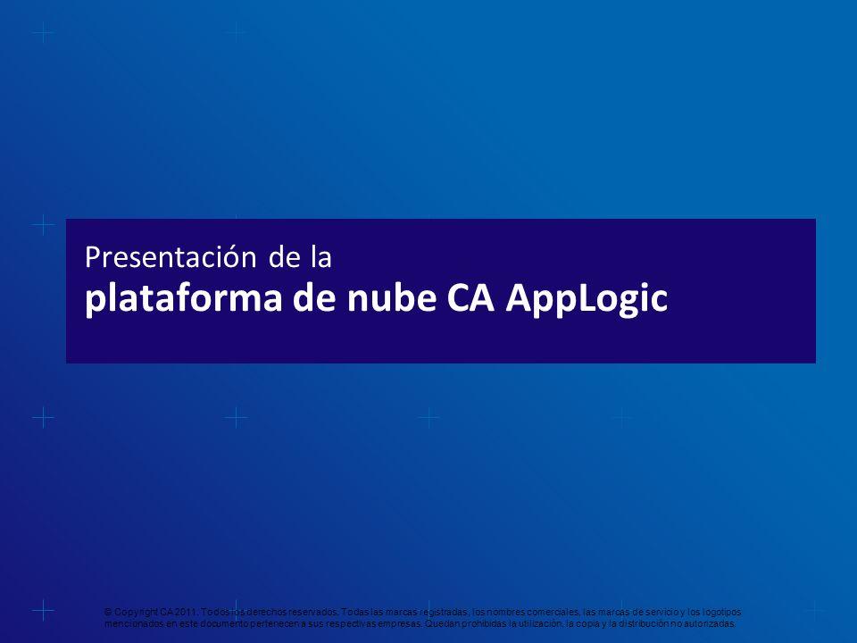 Presentación de la plataforma de nube CA AppLogic © Copyright CA 2011. Todos los derechos reservados. Todas las marcas registradas, los nombres comerc