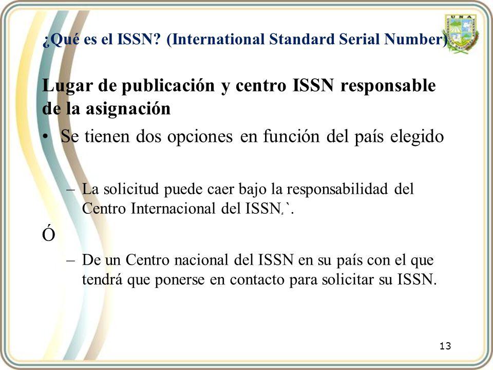¿Qué es el ISSN? (International Standard Serial Number) Lugar de publicación y centro ISSN responsable de la asignación Se tienen dos opciones en func
