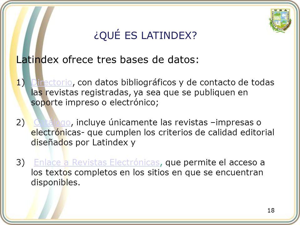 18 ¿QUÉ ES LATINDEX? Latindex ofrece tres bases de datos: 1)Directorio, con datos bibliográficos y de contacto de todas las revistas registradas, ya s