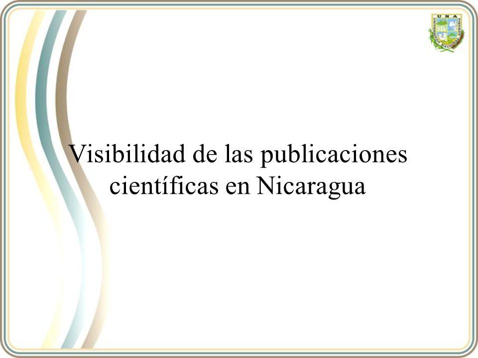 Los datos del período 1996-2008 (y sub- períodos 1999-2003 y 2004-2008) se extrajeron de las herramientas cienciométricos herramienta SCImago Journal & Country Rank (SJCR, disponible en http://www.scimagojr.com), creado por el SCImago Research Group 43 Arencibia-Jorge, Ricardo, Estudio bibliométrico de países latinoamericanos apoyados por el INASP 1996–2008 Publicaciones científicas nicaragüenses en Scopus