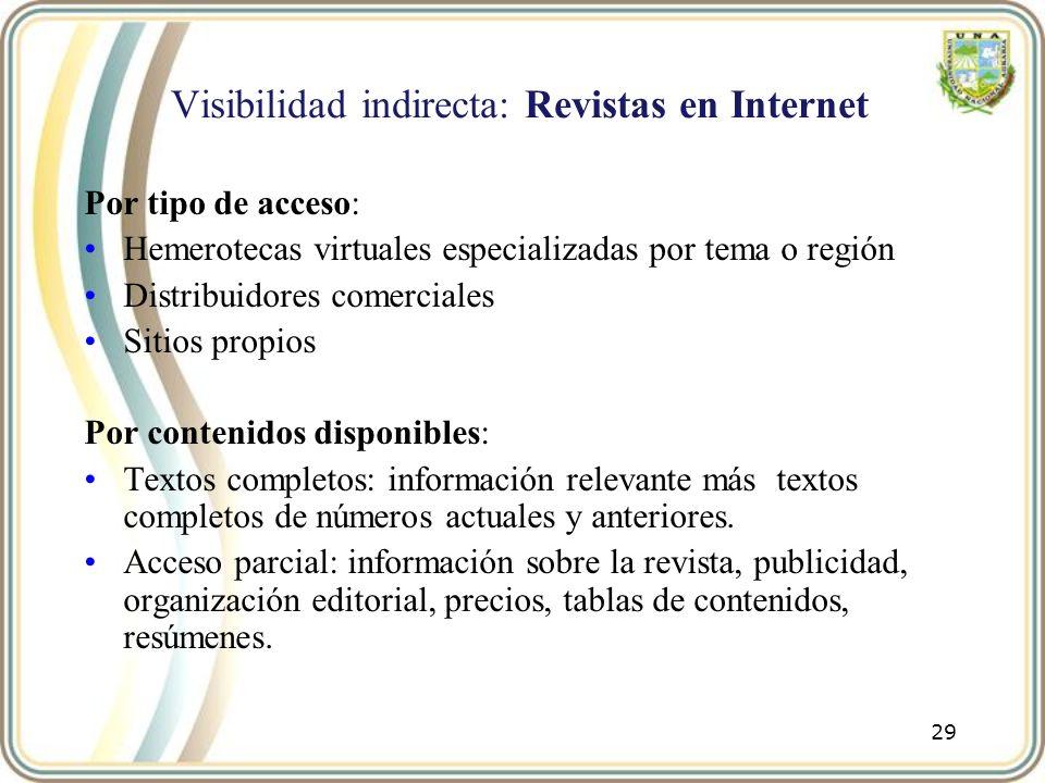 Visibilidad indirecta: Revistas en Internet Por tipo de acceso: Hemerotecas virtuales especializadas por tema o región Distribuidores comerciales Siti