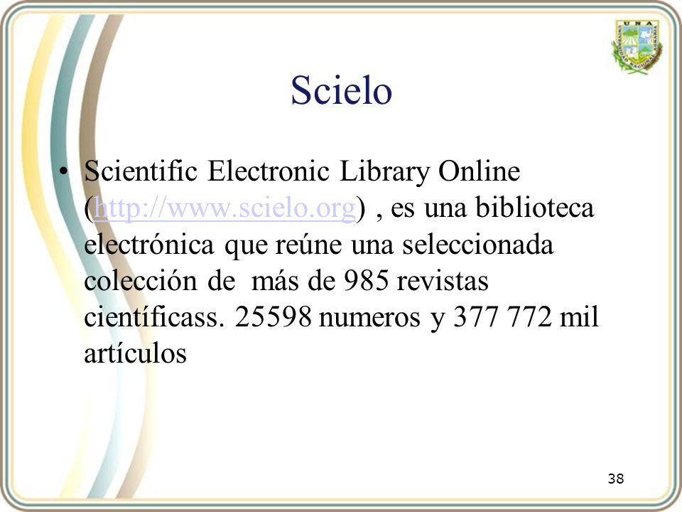 Scielo Scientific Electronic Library Online (http://www.scielo.org), es una biblioteca electrónica que reúne una seleccionada colección de más de 985