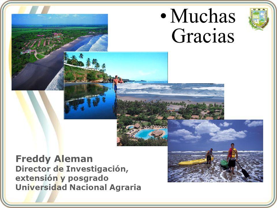 Muchas Gracias Freddy Aleman Director de Investigación, extensión y posgrado Universidad Nacional Agraria