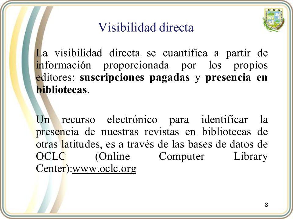Visibilidad indirecta: presencia en Directorios La presencia en directorios de publicaciones periódicas es de relevancia ya que se utilizan como herramienta para localizar y seleccionar revistas Los editores deben diferenciar entre los servicios ofrecidos por un directorio y los ofrecidos por una base de datos.