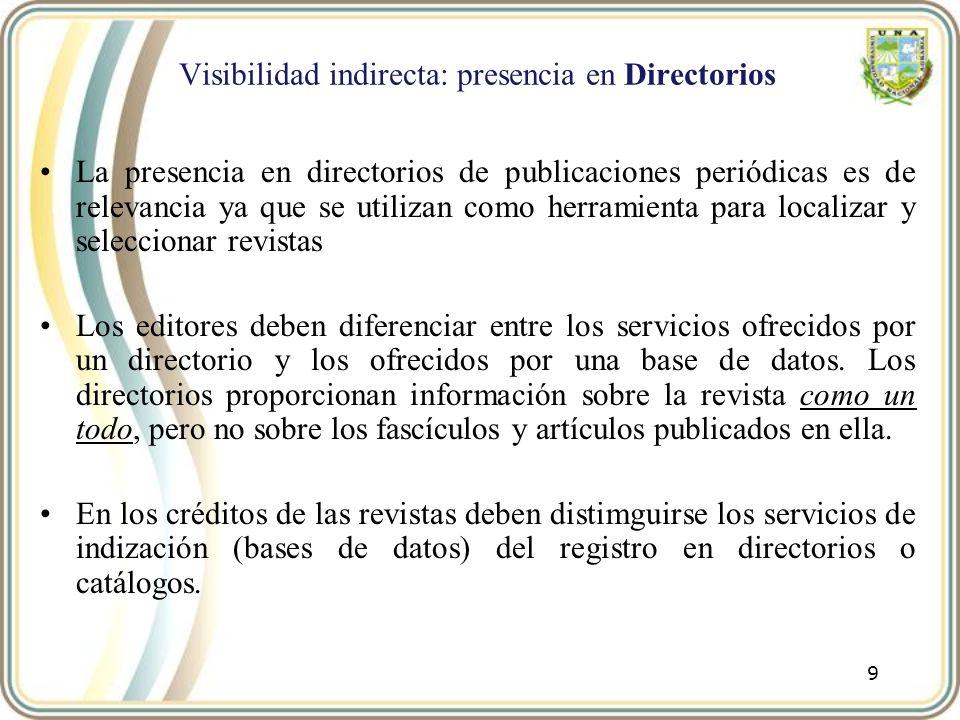 Visibilidad indirecta: presencia en Directorios La presencia en directorios de publicaciones periódicas es de relevancia ya que se utilizan como herra