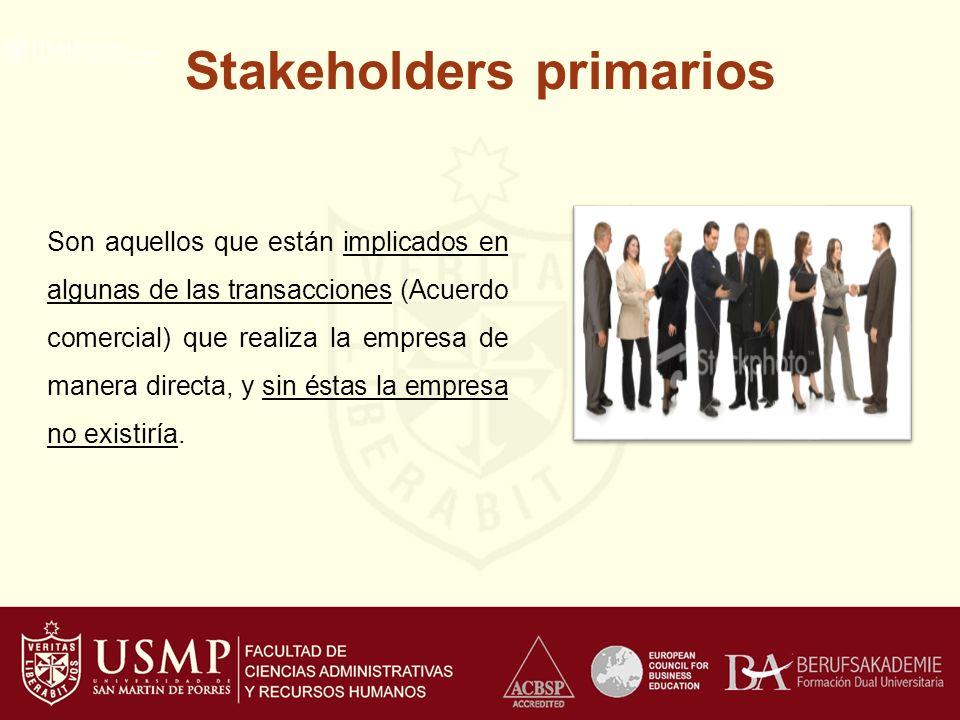 Stakeholders primarios Son aquellos que están implicados en algunas de las transacciones (Acuerdo comercial) que realiza la empresa de manera directa, y sin éstas la empresa no existiría.