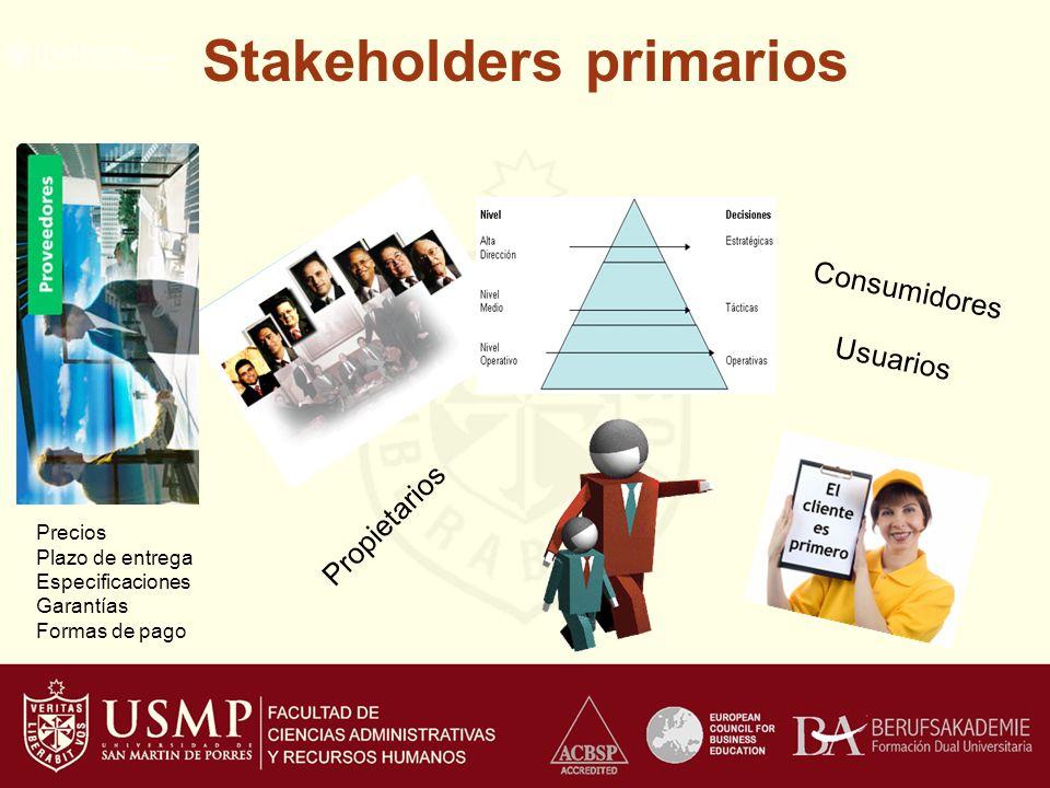 Stakeholders primarios Propietarios Consumidores Usuarios Precios Plazo de entrega Especificaciones Garantías Formas de pago
