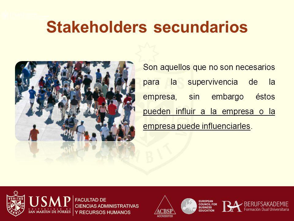 Stakeholders secundarios Son aquellos que no son necesarios para la supervivencia de la empresa, sin embargo éstos pueden influir a la empresa o la empresa puede influenciarles.