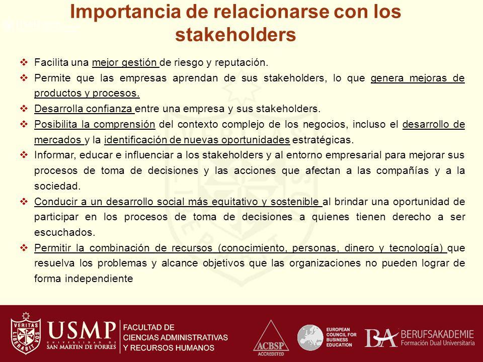 Importancia de relacionarse con los stakeholders Facilita una mejor gestión de riesgo y reputación.