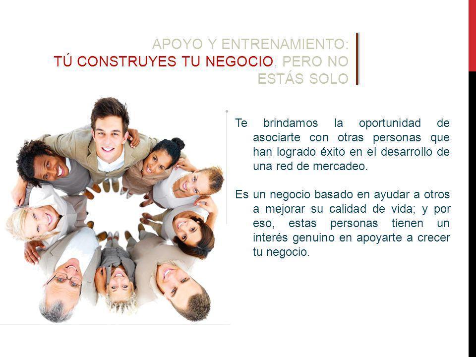 Te brindamos la oportunidad de asociarte con otras personas que han logrado éxito en el desarrollo de una red de mercadeo.
