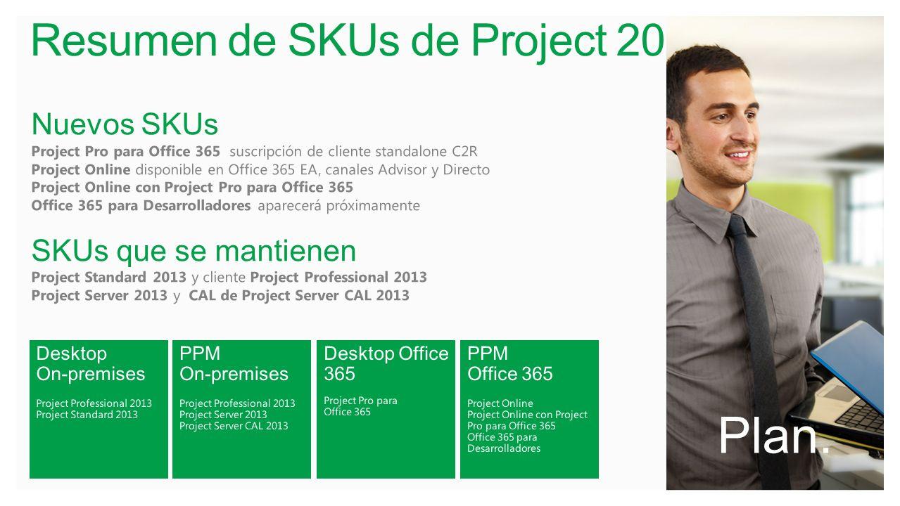Resumen de SKUs de Project 2013 Plan. Nuevos SKUs Project Pro para Office 365 suscripción de cliente standalone C2R Project Online disponible en Offic
