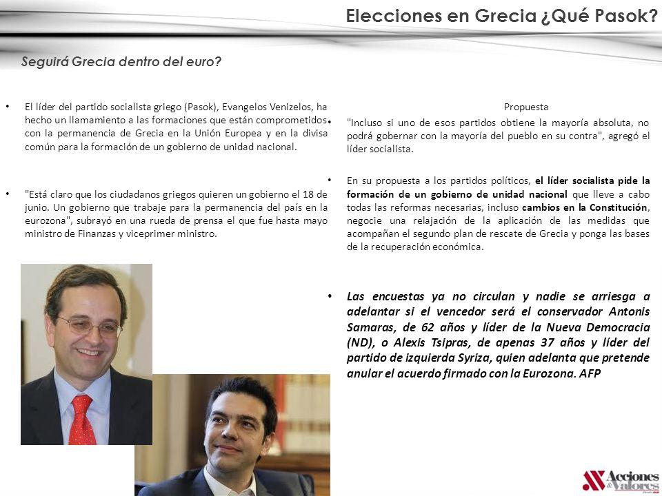 Elecciones en Grecia ¿Qué Pasok? El líder del partido socialista griego (Pasok), Evangelos Venizelos, ha hecho un llamamiento a las formaciones que es
