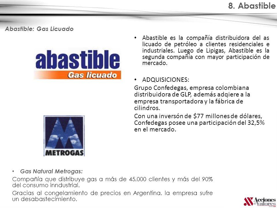 8. Abastible Abastible: Gas Licuado Gas Natural Metrogas: Compañía que distribuye gas a más de 45.000 clientes y más del 90% del consumo inndustrial.