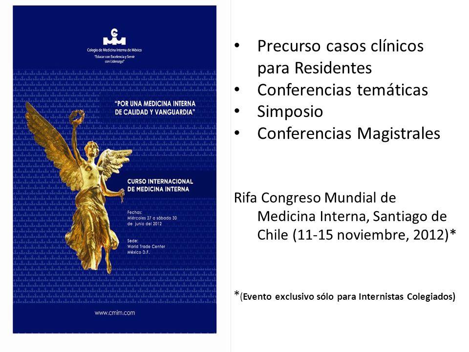 Precurso casos clínicos para Residentes Conferencias temáticas Simposio Conferencias Magistrales Rifa Congreso Mundial de Medicina Interna, Santiago d