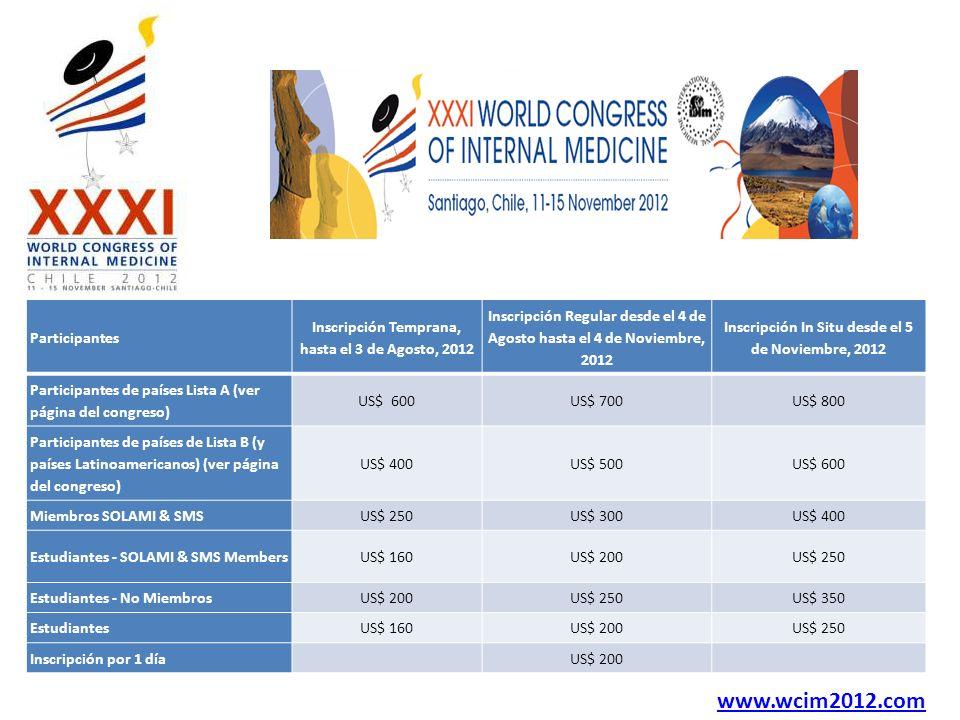 Participantes Inscripción Temprana, hasta el 3 de Agosto, 2012 Inscripción Regular desde el 4 de Agosto hasta el 4 de Noviembre, 2012 Inscripción In S