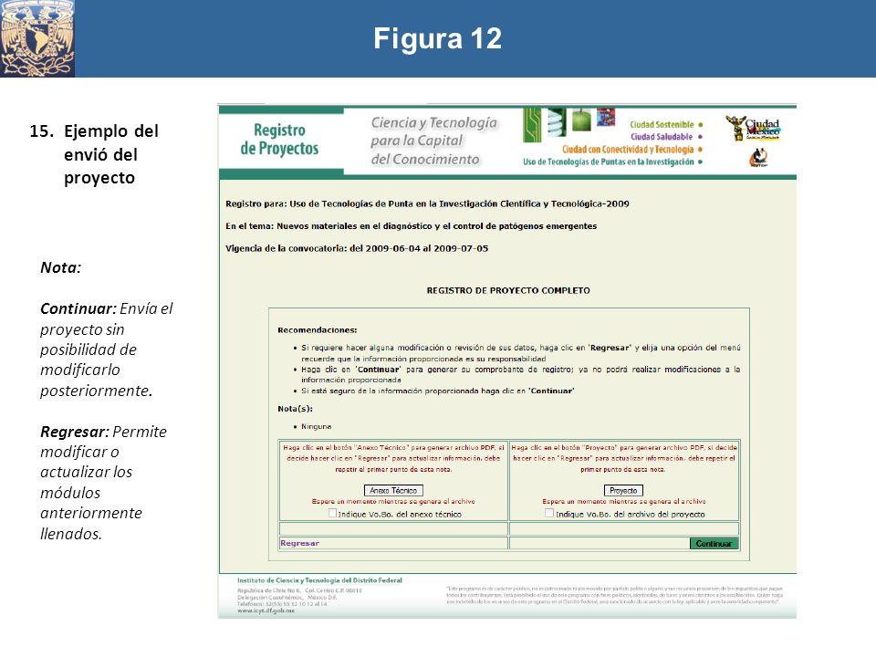 Figura 12 15.Ejemplo del envió del proyecto Nota: Continuar: Envía el proyecto sin posibilidad de modificarlo posteriormente. Regresar: Permite modifi