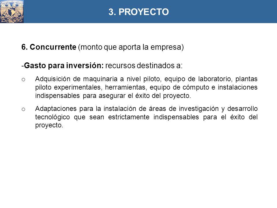 6. Concurrente (monto que aporta la empresa) -Gasto para inversión: recursos destinados a: o Adquisición de maquinaria a nivel piloto, equipo de labor