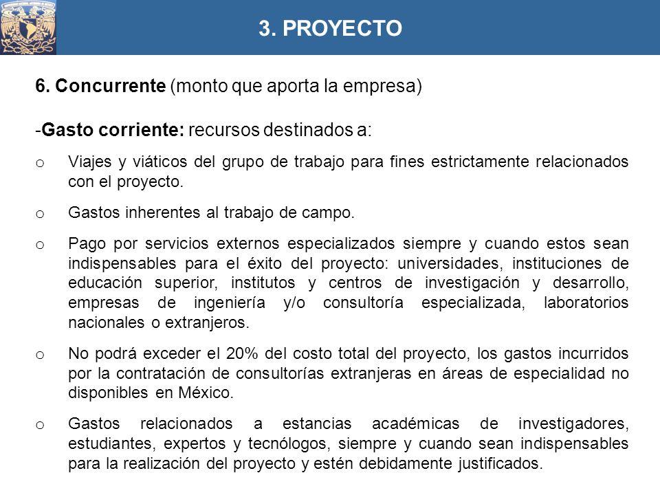 6. Concurrente (monto que aporta la empresa) -Gasto corriente: recursos destinados a: o Viajes y viáticos del grupo de trabajo para fines estrictament